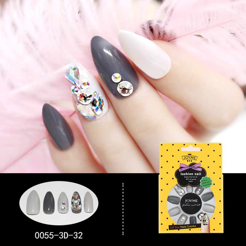 Stiletto 3D Artificial Nail Manufacturer Nail Art Gray and white with stone False Nail