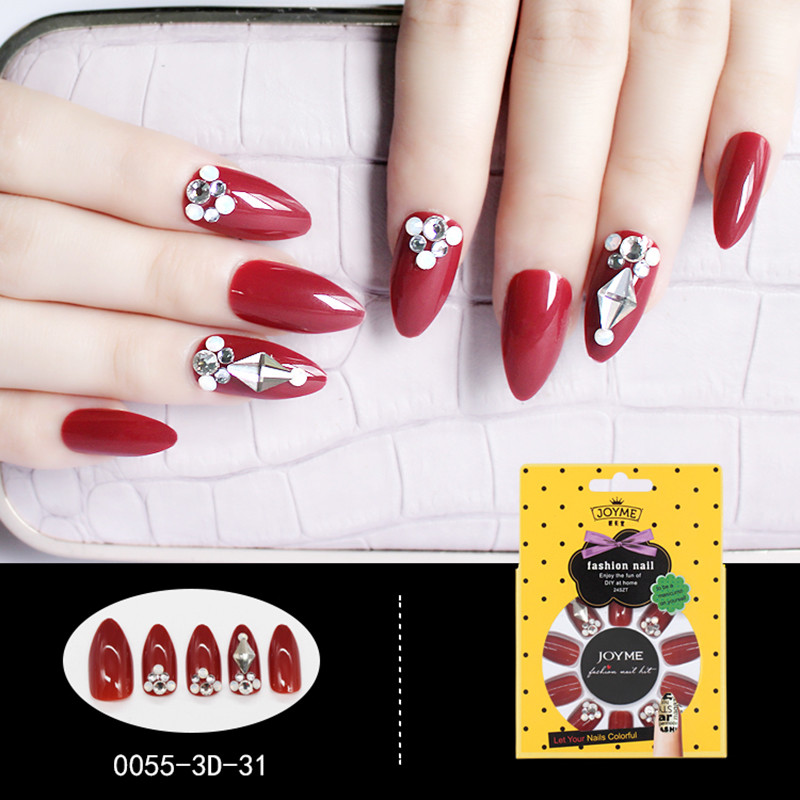 Stiletto 3D Artificial Nail Nail Art for Bride Red with stone False Nail