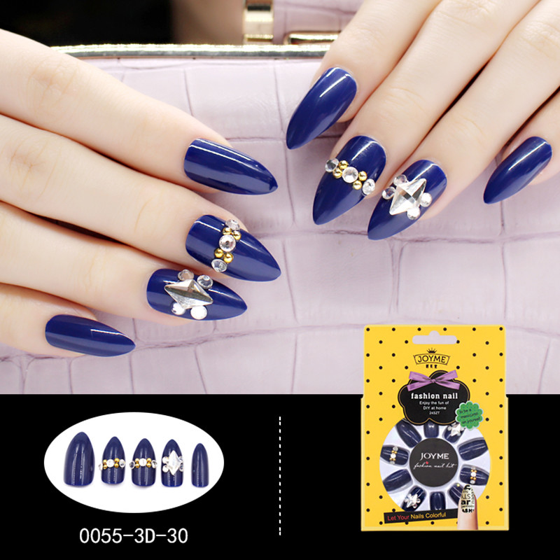 Stiletto 3D Artificial Nail Stone Decoration Nail Art Blue with Metallic stone