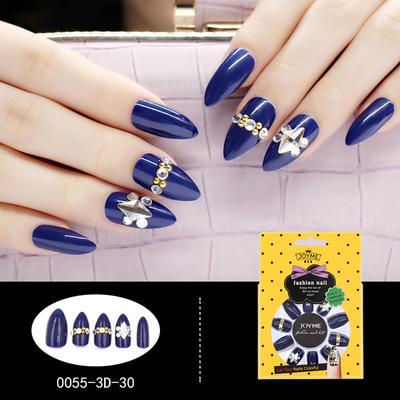 Stiletto 3D Artificial Nail Stone Decoration Nail Art Blue with Metallic stone
