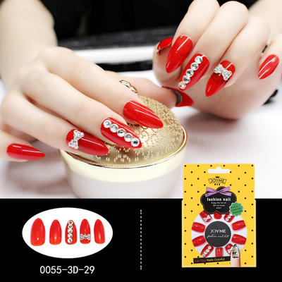 Stiletto 3D Artificial Nail Manufacturer Fashion Nail Tip Red with Crystal Stone