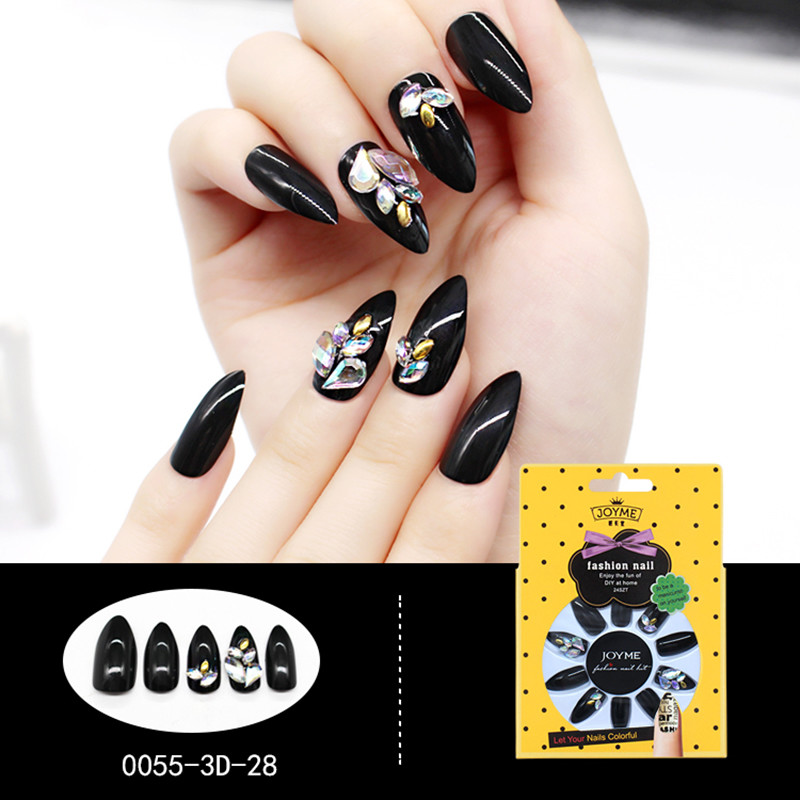 Stiletto 3D Artificial False Nail Factory Fashion Nail Tip Black with Stone