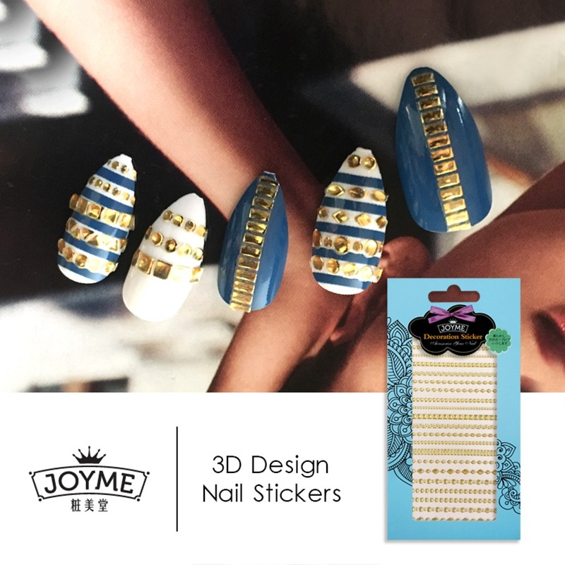 gold line stone jewelry DIY nail sticker