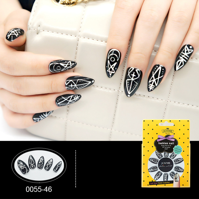 Star Elements Glossy Nail Classical Black&White Pattern Nail Tip