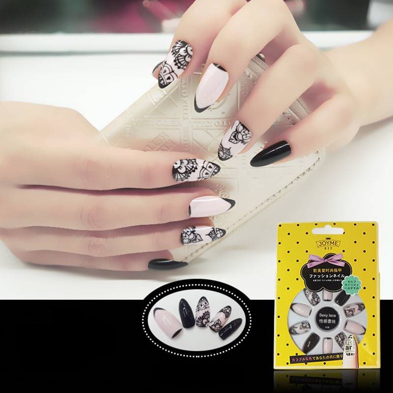 Colored French Nail Black Pattern Stiletto Nail Tip