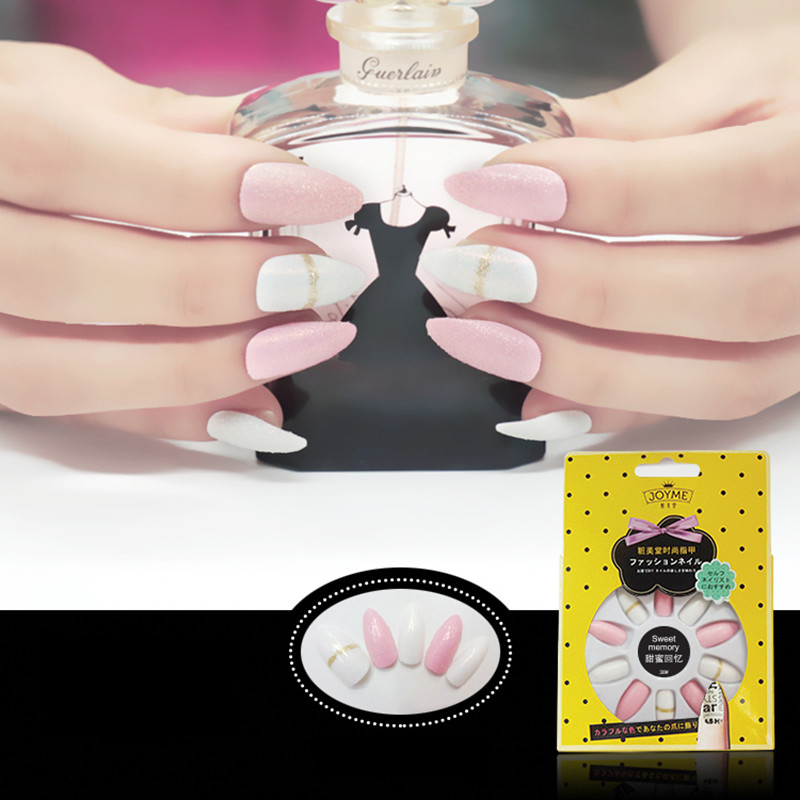 Pink&White Glitter  Stiletto Nail Tip
