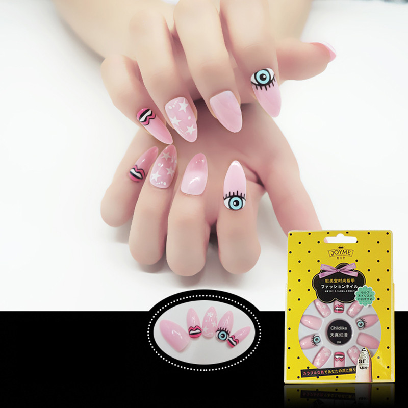 Lovely Eyes Elements Stiletto Nail Tip Pink Color Nail Tip