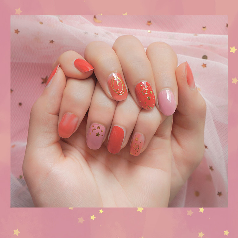 3D gold metallic pink ombre nail strips