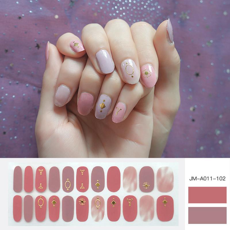 3D metallic pink colour nail strip