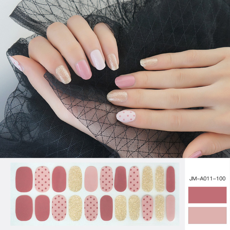 pink dot glossy nail strip for girl