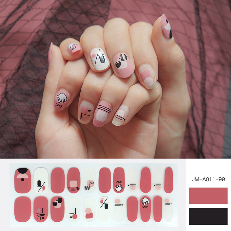 pink colour glossy nail strip