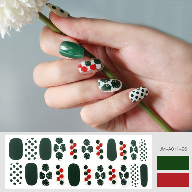 green leaf design glossy nail strip for 2020 summer