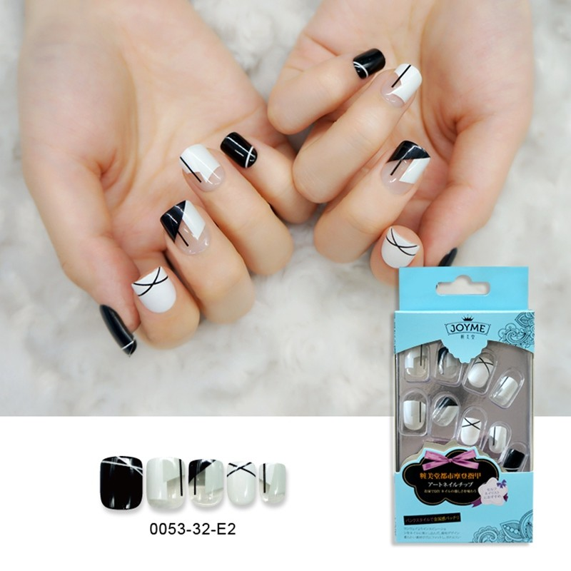 Black And Black Impact Press On Nail Pre-Glue Artifical Nail