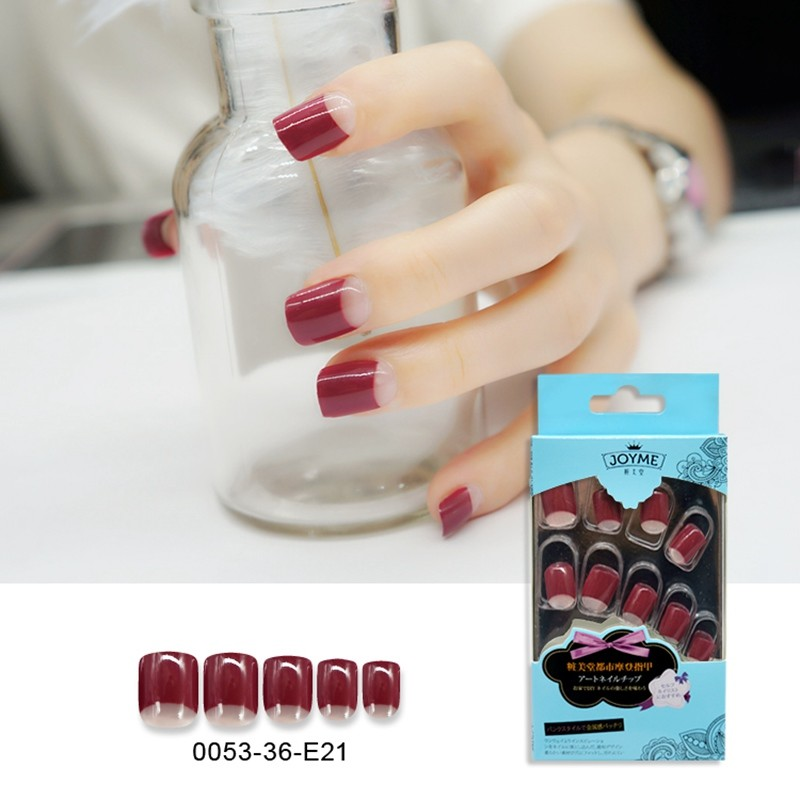 Square Red Simple Design Nail