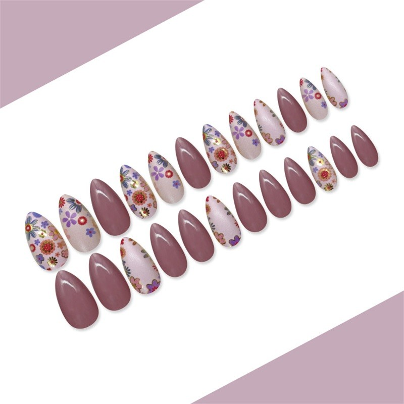Metallic Nail Tip With Flower Long Stiletto Nail