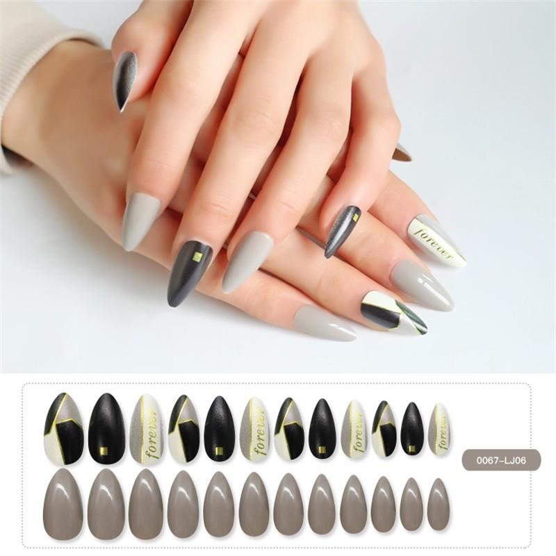 Stiletto Shape Nail Metallic with Printing Nail Tips