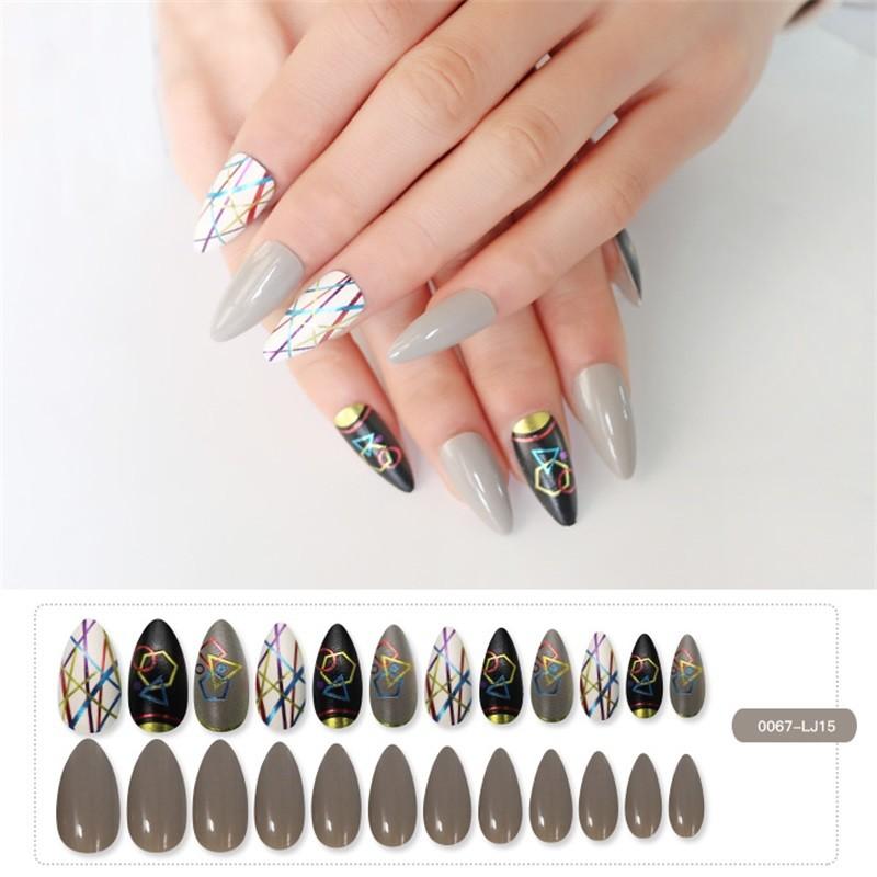 Metallic Nail Pink and Black Nail Stiletto Nail Shape
