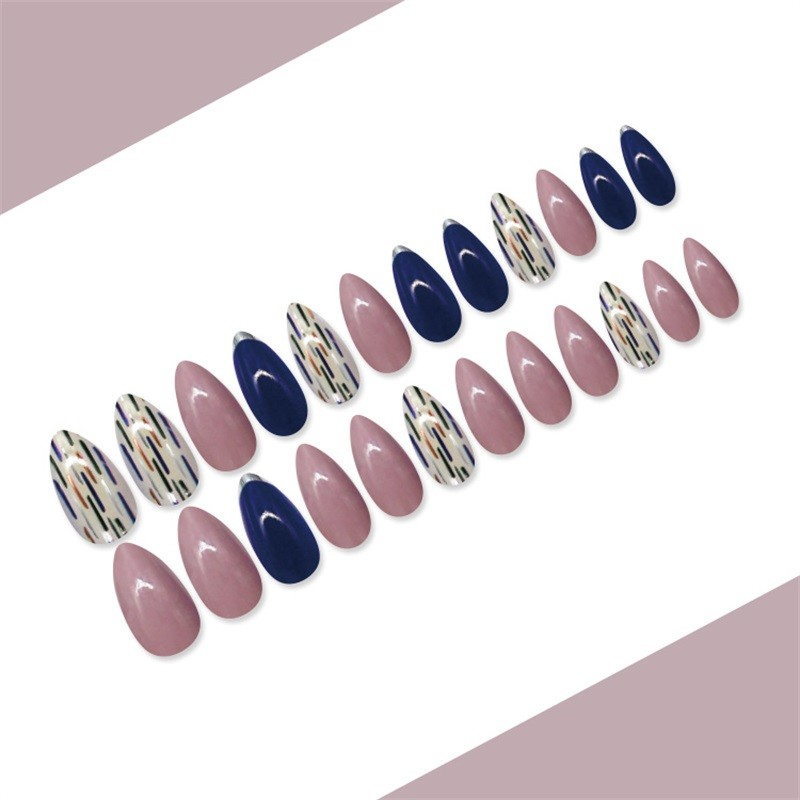 Metallic Nail Tip Blue White Purple Stiletto Nial Shape
