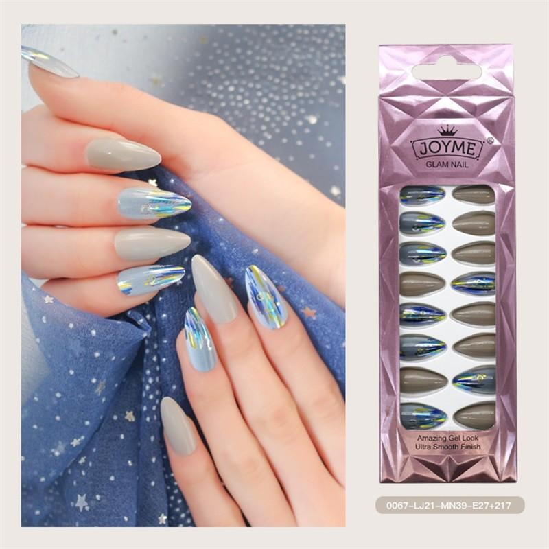 Metallic Nail Tip Blue Grey Long Shape Nails