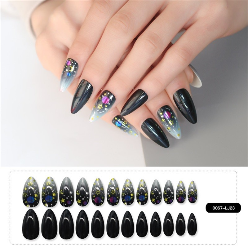 Metallic Nail Black Gray Long Stiletto Nail Shape