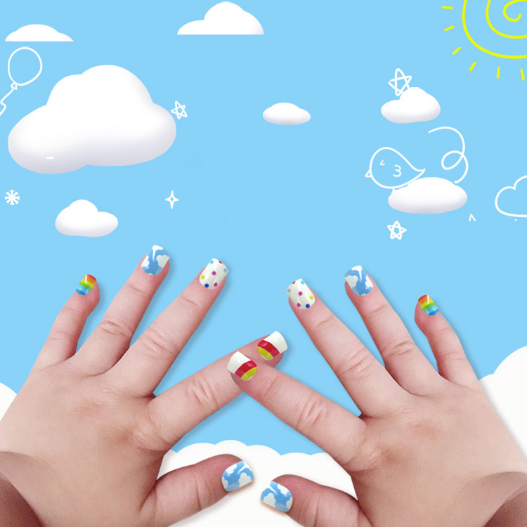 Newair Printing Colorful Nail Tip Of Children- Sky
