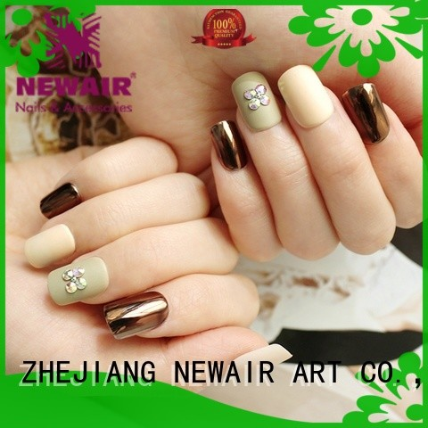 Newair Fake Nails violet short press on nails series for girls