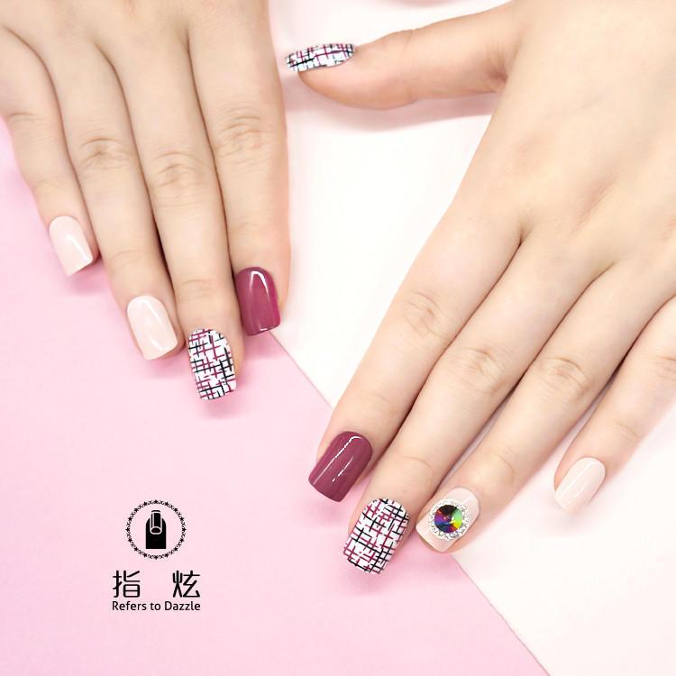 porcelain short fake nails customized for girls-2