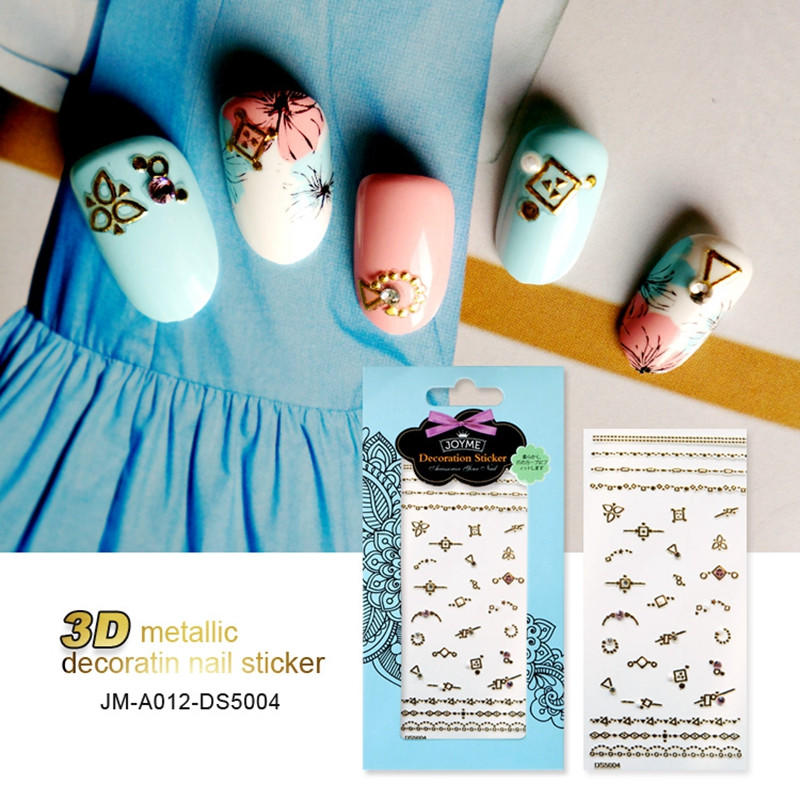 newest gold nail stickers design for women-1