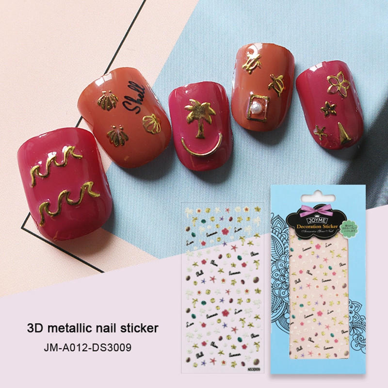 yellow christmas nail stickers design for ladies-1