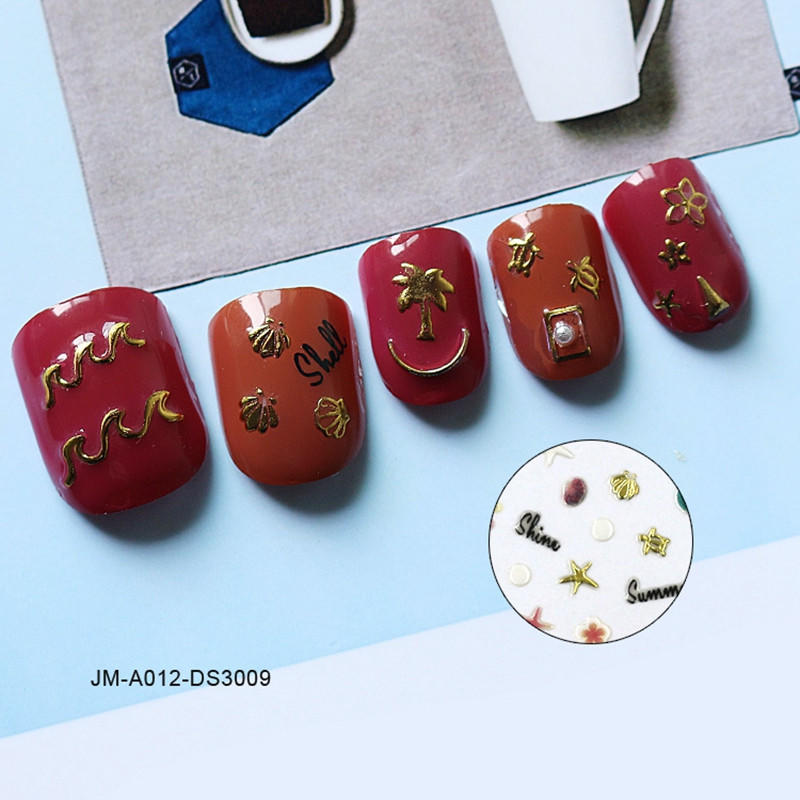 yellow christmas nail stickers design for ladies-2