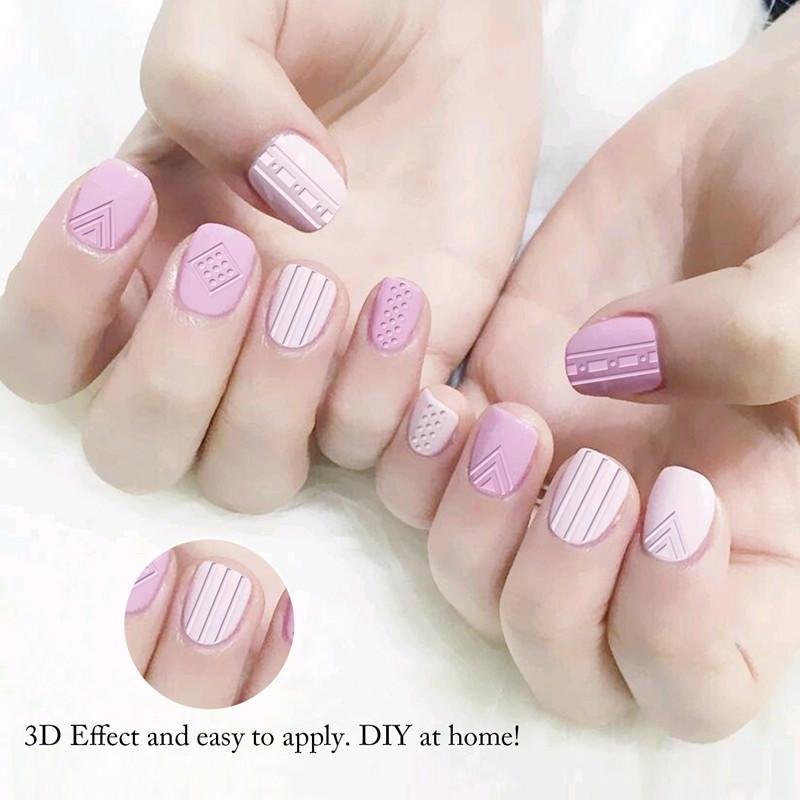 Newair Fake Nails metallic 3d nail stickers design for ladies-1