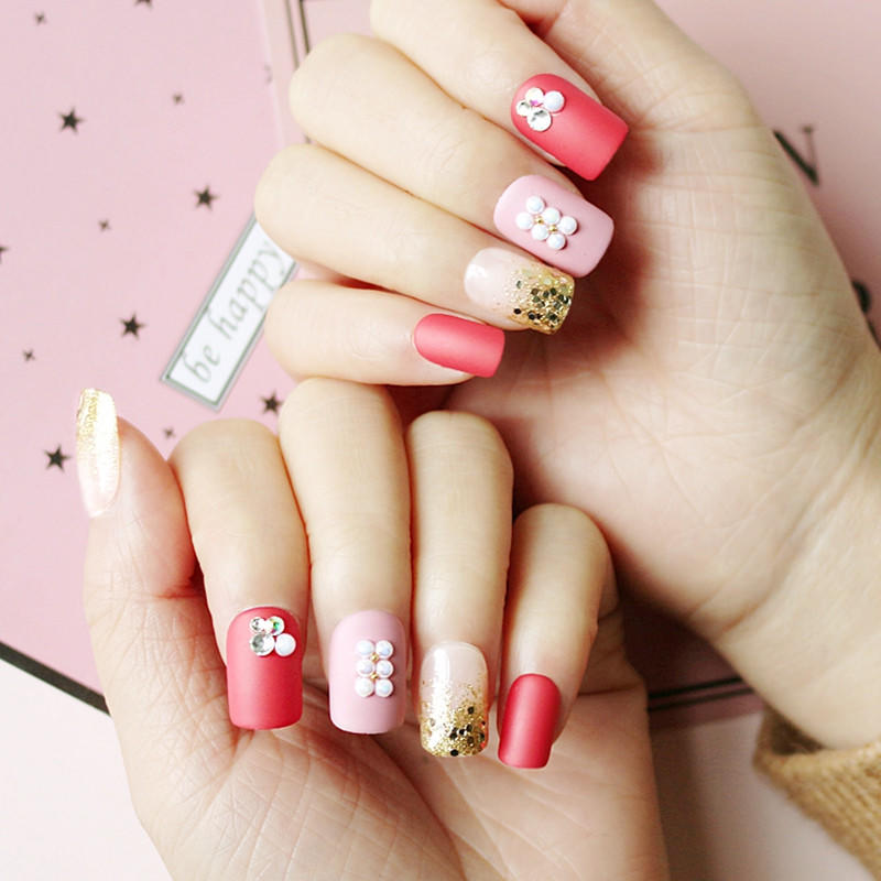 red press on nails amazon from China for lady-1