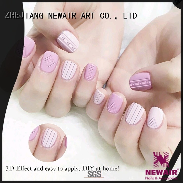 Newair Fake Nails metallic 3d nail stickers design for ladies