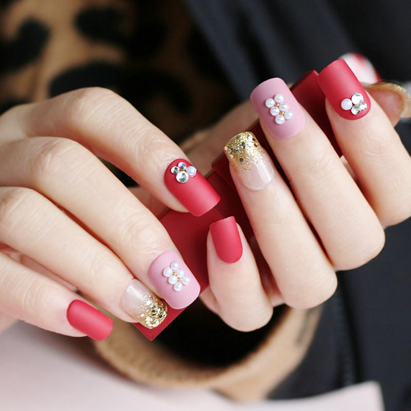 red press on nails amazon from China for lady-2