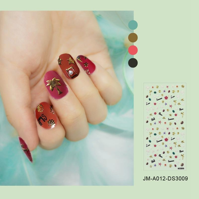 yellow christmas nail stickers design for ladies-3