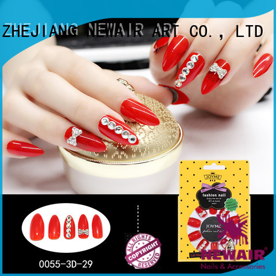 Newair Fake Nails blackwhite false nails short personalized for girls