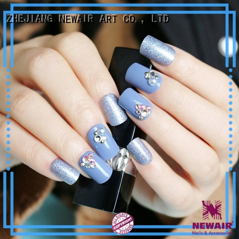 glitter short fake nails from China for wedding