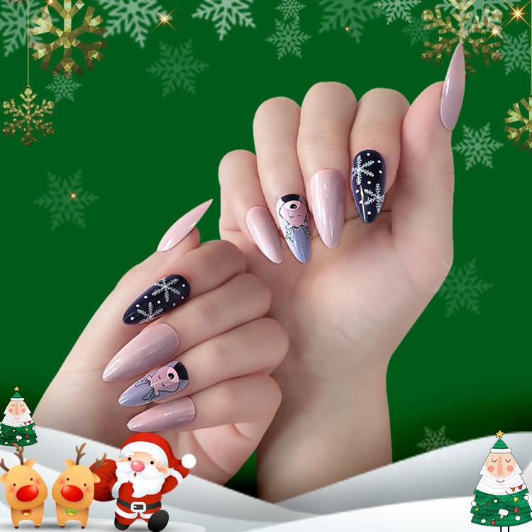 Newair  Christmas Nail tips Almond shape 24pcs
