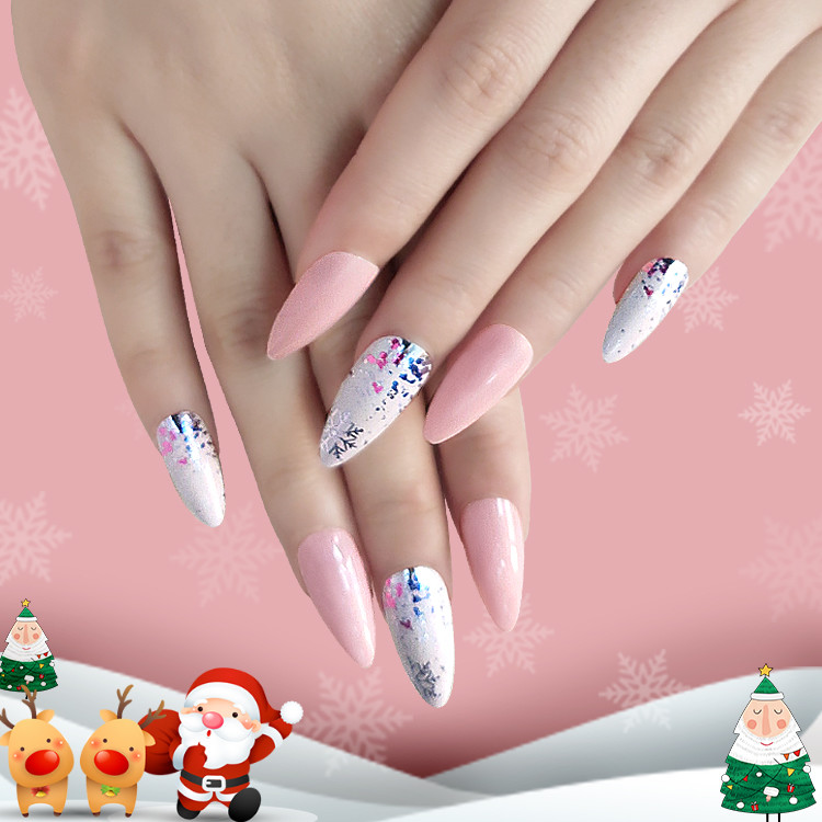 2021 Newair Christmas Nail Stiletto  Almond Print Nail 24PCS
