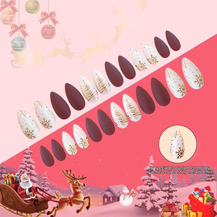 2021 Newair Christmas  Nail Stiletto Print Nail 24PCS