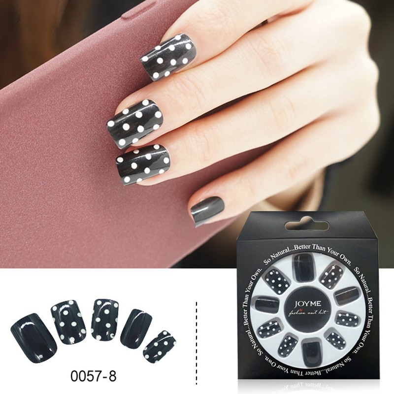 Black With White Dot Design 24PCS Wholesale Press On  False Nail Tips