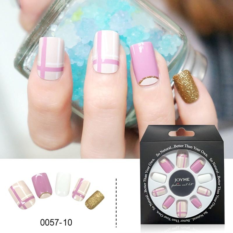 Color With Glitter Design Wholesale Press on Artifical False Nail 24PCS