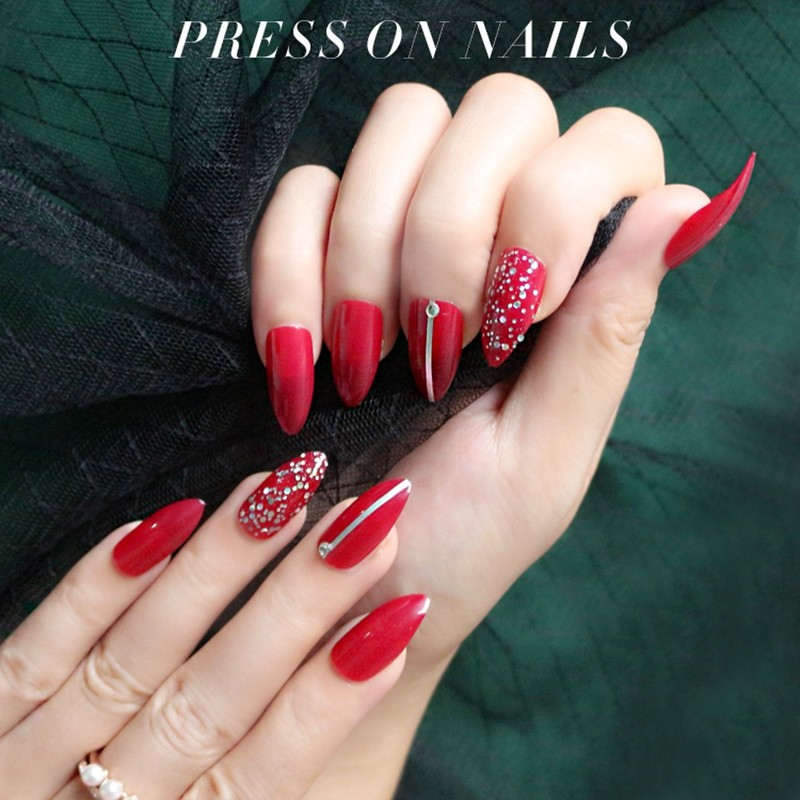NEWAIR Wholesale Press on nail stiletto jewel nails False Nails artficial nails