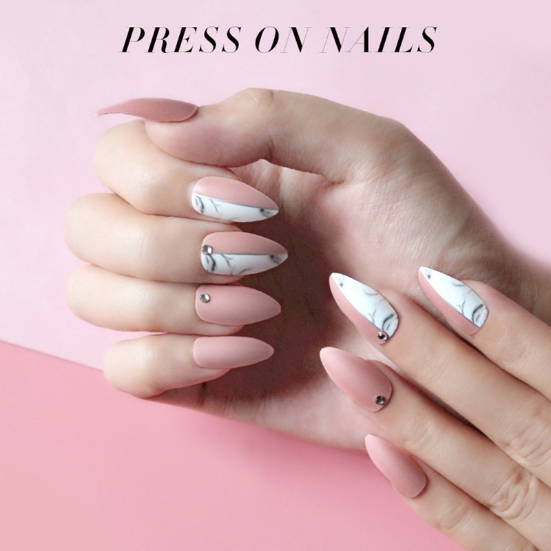 NEWAIR  press on nails supplier matte nails with crystal stiletto fake nails