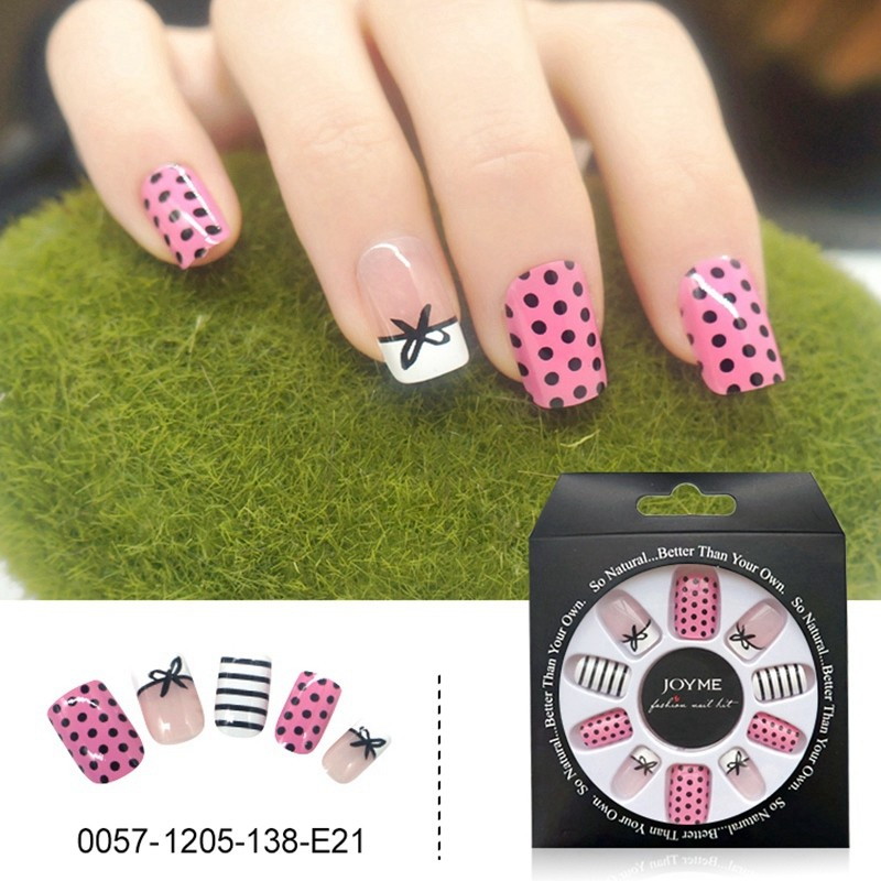Bow With Spot Cute Design Wholesale False Nail Press On Nail Tips Fake Nails 24PCS