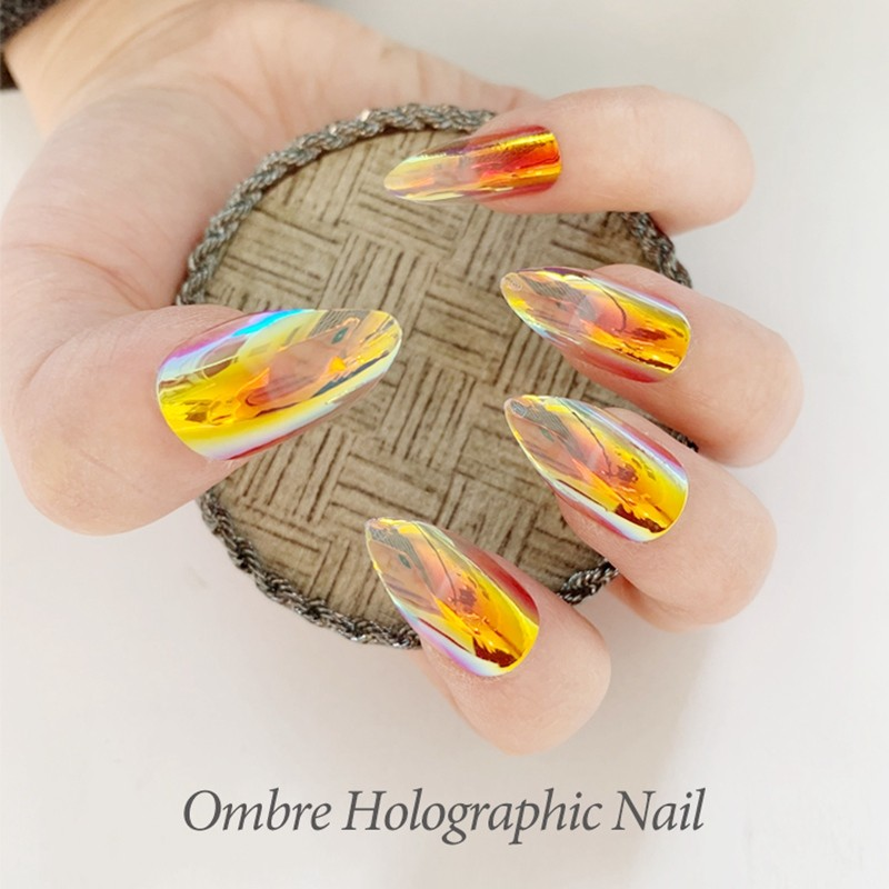 NEWAIR fashion trend artificial stiletto nails with obmer hologram effect