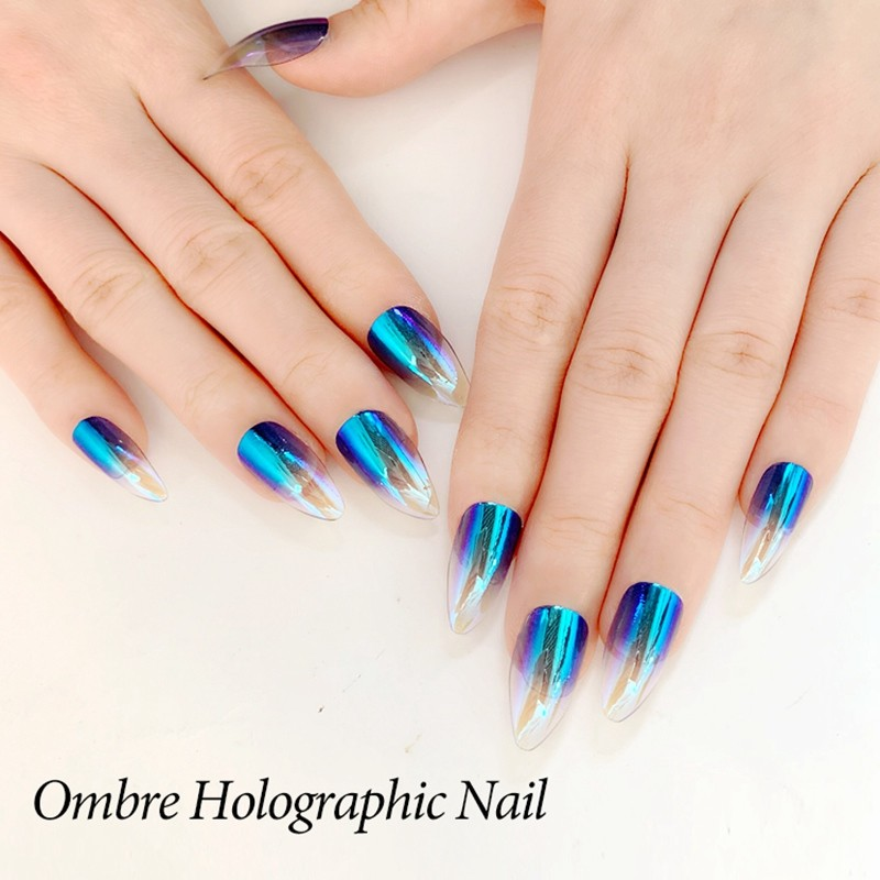 NEWAIR artificial supplier press on stiletto nails with omber holographic nails