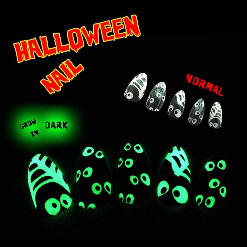 Newair Quality  Halloween Noctilucence Nail Stiletto False 24PCS Nail