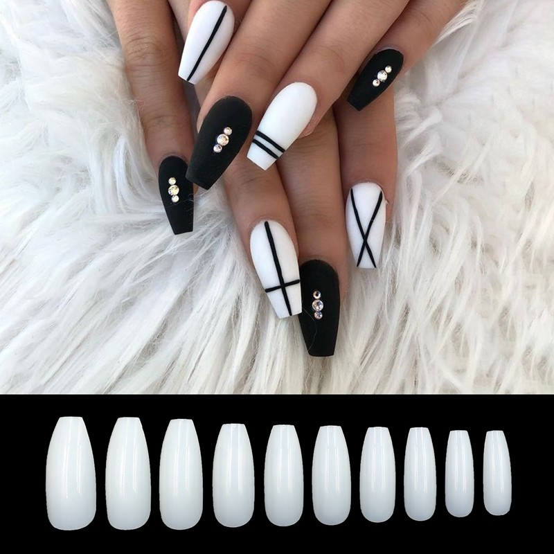 Professional natural long coffin nails fake nails supplier from Newair