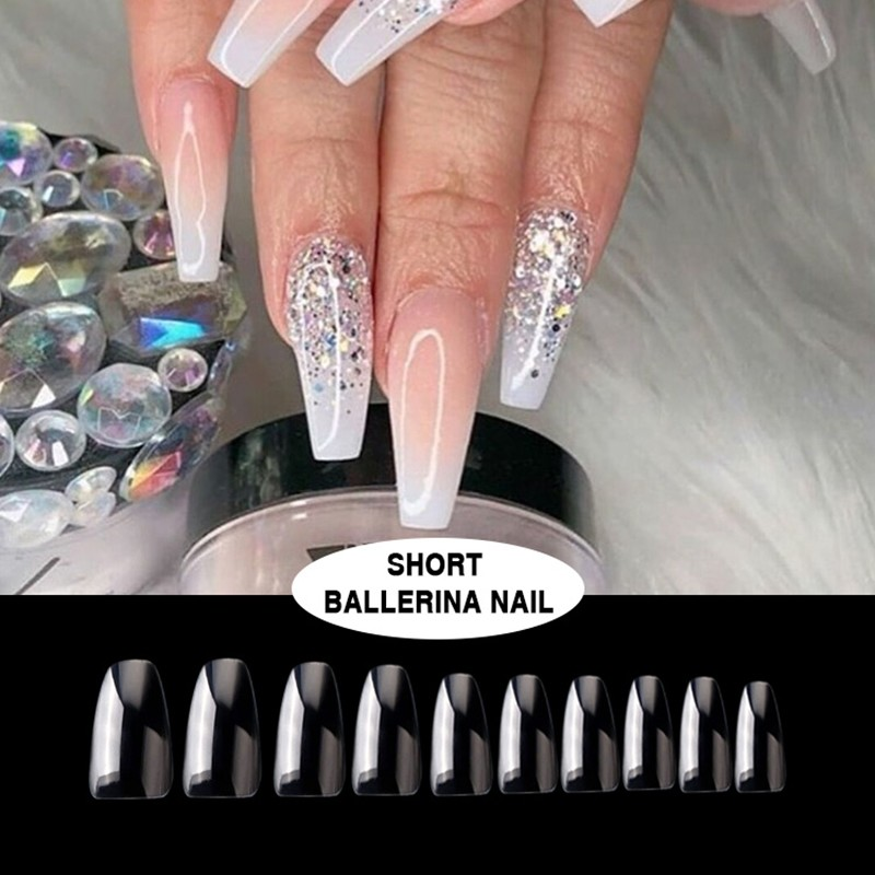 Transparent short ballerina art nails artificial art nails